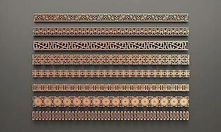 中式花格腰线3d模型