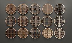 中式圆形花格窗组合模型3d模型