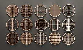 中式圆形花格窗组合模型