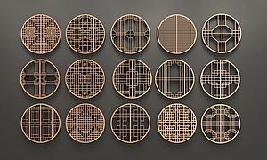 3d中式圓形花格窗組合模型