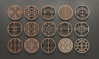 中式圆形花格窗组合3d模型