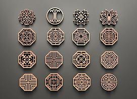 中式圆形镂花组合模型