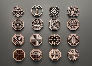 中式圆形镂花组合3d模型