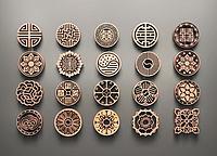 中式圆形雕花3d模型