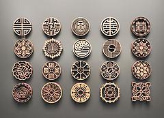 中式圆形雕花模型3d模型