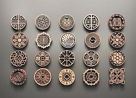 中式圆形雕花模型
