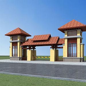 小区入口模型