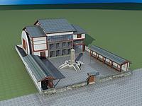 中式纪念馆3d模型
