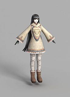 游戏西域女孩人物形象3d模型