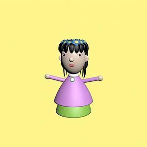 黑發女孩泥塑玩具3d模型