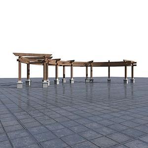 3d长廊花架模型