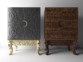 新古典雕花装饰酒柜模型