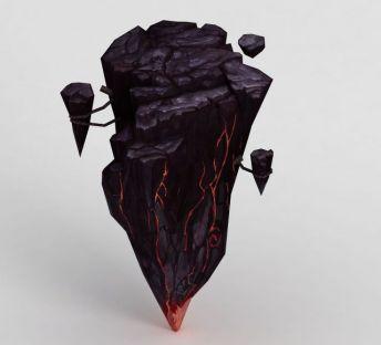 手绘写实熔岩石头悬崖
