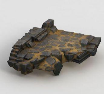 手绘写实石头地面