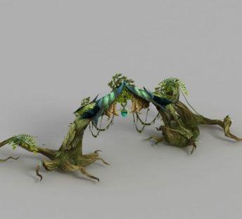 魔兽世界树木大门场景装饰