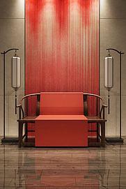 中式落地灯新中式太师椅模型