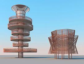 观鸟塔建筑模型