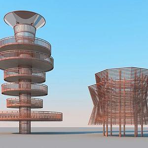 观鸟塔建筑模型3d模型