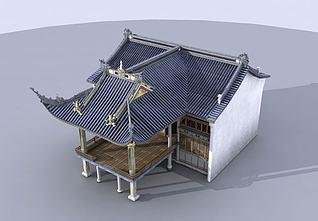 古建戏台建筑3d模型