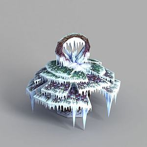 游戏场景冰挂装饰模型
