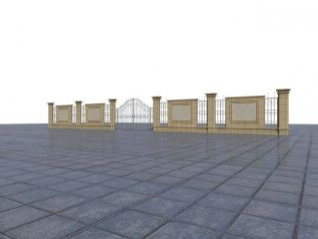 围墙铁艺门3d模型