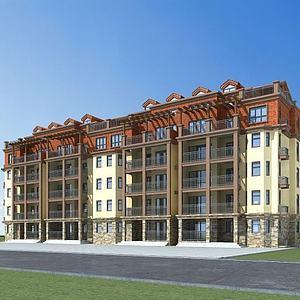 歐式多層住宅模型3d模型