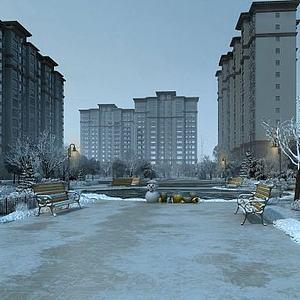 小区雪景透视模型3d模型