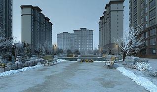 3d小区雪景透视模型