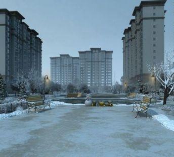 小区雪景透视