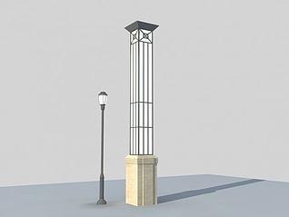 3d中式方形景观灯模型