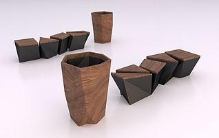 垃圾箱与凳子3d模型