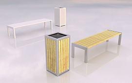 垃圾箱与凳子模型