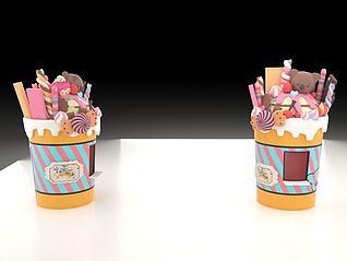 糖果冰激凌3d模型