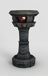 魔兽世界游戏灯柱模型3d模型