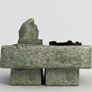 洪荒游戏石头桌子模型3d模型