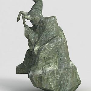 洪荒游戏雕塑马模型3d模型