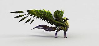 神魔坐骑飞骑绿焰狐3d模型