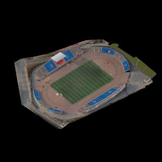 3d校园足球场及看台模型