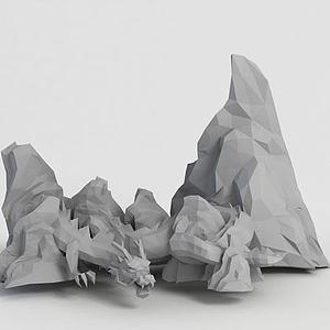 游戏龙造型假山模型3d模型