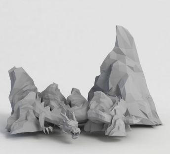 游戏龙造型假山