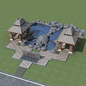 3d溫泉度假中心模型