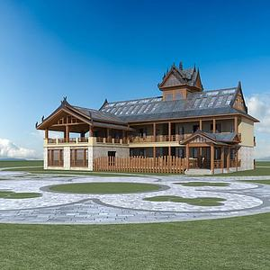 東南亞風格酒店模型3d模型