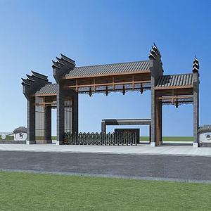 中式大门模型3d模型