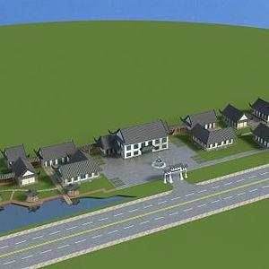 3d古建庄园模型
