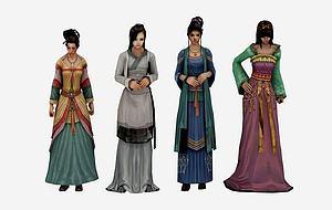 古装游戏美女模型3d模型