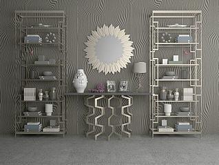 欧式奢华实木玄关柜子3d模型