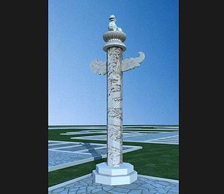 华表柱,柱子3d模型