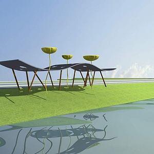 雕塑,蓮花,城市小品模型3d模型