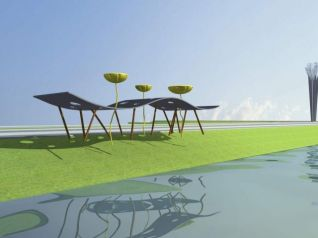 雕塑,莲花,城市小品3d模型