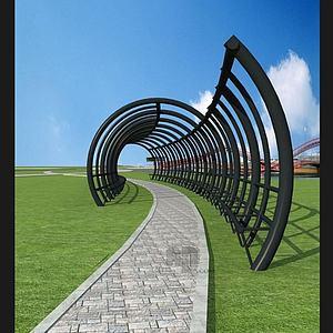 公園圓拱拱形廊道模型3d模型